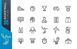 jeu d'icônes de basket-ball minimal vecteur
