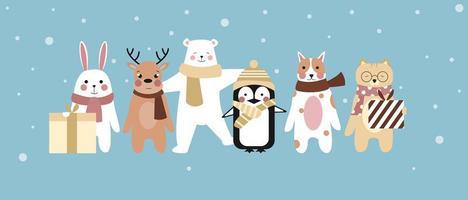 ensemble de caractères animaux d'hiver vecteur
