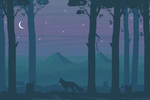 Scène de nuit horizontale avec forêt de feuillus, renard