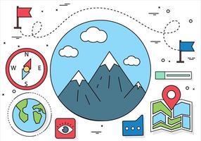 Éléments et icônes de voyage vectoriel gratuit de conception plate