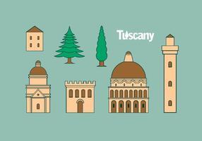 Icône Toscane Set Free Vector