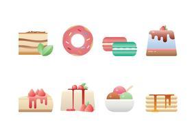 Ensemble d'icônes de desserts délicieux