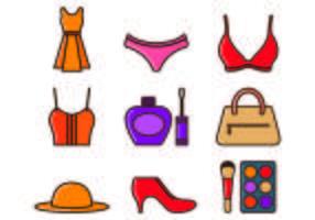 Ensemble d'icônes d'équipement de femme vecteur