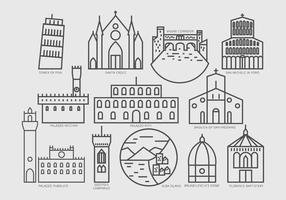 Pictogramme de lieux intéressants en Toscane vecteur