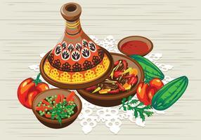 Tajine aux légumes avec sauce au poulet et à la tomate vecteur