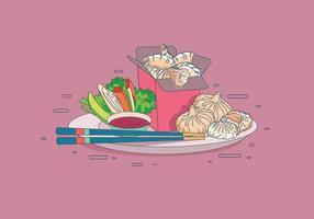 Dumpling on a Plate Vector