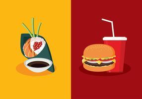 Temaki vs fast food free vector