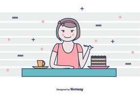 Girl Eating Tiramisu Vector Background
