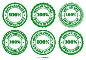 Collection de badges écologiques, naturels et biodégradables vecteur