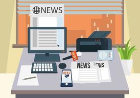Vector de bureau de journaliste