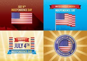 4ème de la carte de la Journée de l'indépendance de juillet vecteur