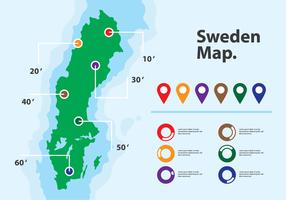 Infographie de la carte vectorielle de la Suède