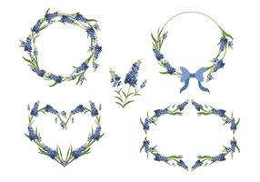 Collection de vecteur cadre fleur fleur bleue