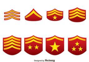 Vecteurs d'emblème de classement militaire rouge vecteur