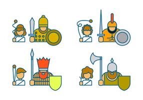 David and Goliath Icon Vector