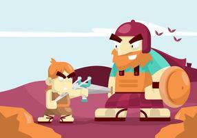 David et Goliath Illustration vecteur