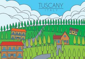 Illustration vectorielle de paysage de Toscane vecteur