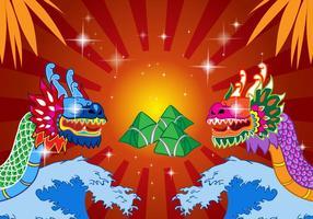 Festival chinois du bateau dragon vecteur