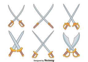 Des vecteurs d'épée croisés dessinés à la main
