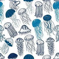 modèle sans couture de méduse bleue vecteur