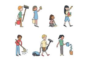 Nettoyage des enfants La maison vecteur