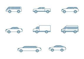 Icônes modernes des voitures vecteur