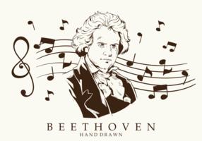 Des vecteurs de Beethoven dessins à main libre vecteur