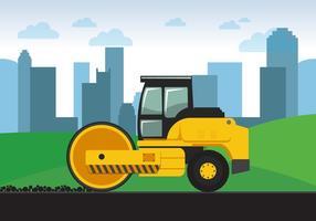 Rouleau de route jaune vecteur