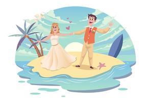 Vecteur de couple de mariage de plage