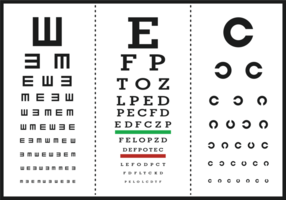Vecteur d'affiche de lettre de test d'oeil