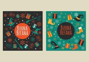 Illustration de Strega avec boîte à cadeaux pour célébrer Befana vecteur