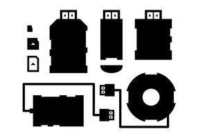 Lecteur de cartes et silhouettes de vecteur USB