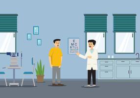 Ophtalmologiste examinant un patient avec une illustration d'un diagramme de test d'oeil vecteur