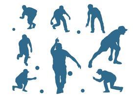 Hommes, silhouettes, jouer, pétanque vecteur