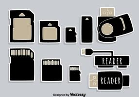 Vector d'icônes d'élément de lecteur de carte Usb