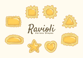 Vecteur d'icônes de ravioli