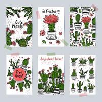 belles cartes avec des cactus et des plantes succulentes vecteur