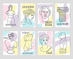 grèce antique et rome set de 8 cartes vecteur