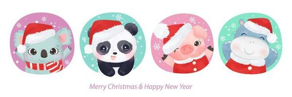 carte de voeux de Noël avec des animaux adorables