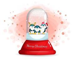 Pingouins mignons dans une cloche de verre pour le jour de Noël
