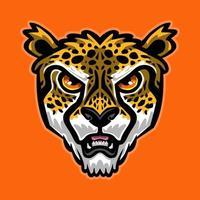 visage de dessin animé de guépard vecteur