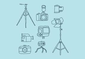 Appareil photo et compléments Doodles vecteur