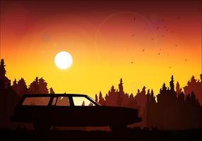 Station wagon silhouette coucher de soleil vecteur libre