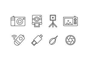 Icônes d'outils photographiques vecteur