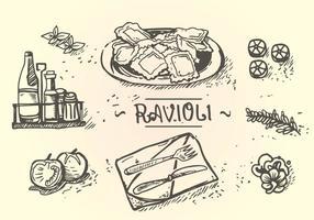 Menu Ravioli Dessin à la main vecteur