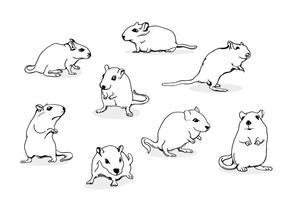 Gerbil Mouse Line Art vecteur