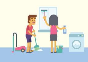 Illustration de nettoyage de maison gratuite vecteur