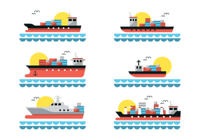 Flat Shipyard Vector With Container