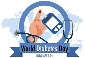 logo ou bannière de la journée mondiale du diabète avec du sang sur le doigt et autocode de glucosure