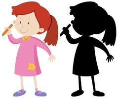 fille tenant un crayon et sa silhouette vecteur